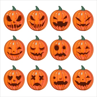 Big set of vector illustrations with jack-o'-lantern with different expressions of emotions