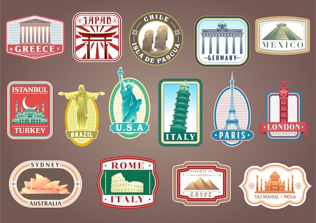 Big set of vector travelling stickers with world's famous landmarks