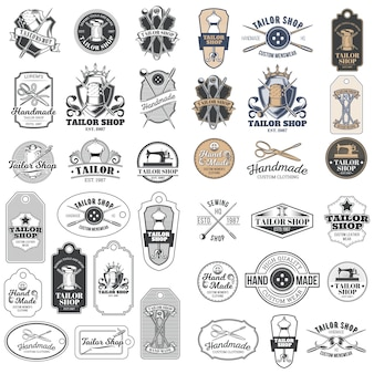 Big set of vector vintage tailor badges, stickers, emblems , signage