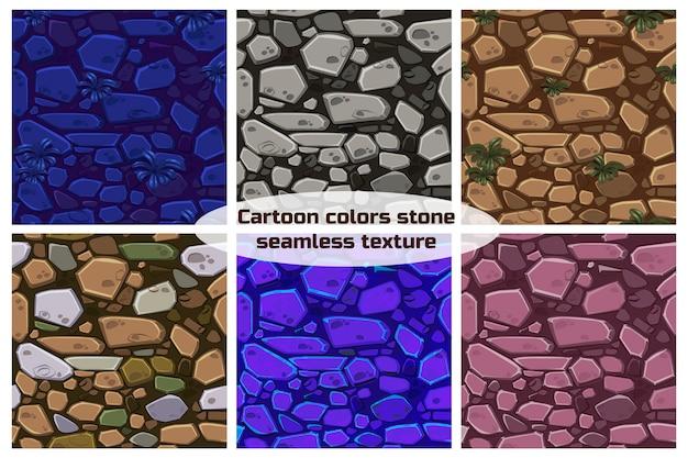 Big set view seamless background texture color stones. illustration