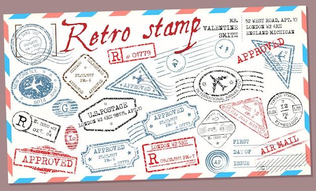 Big set vintage retro postage stamps on the envelope