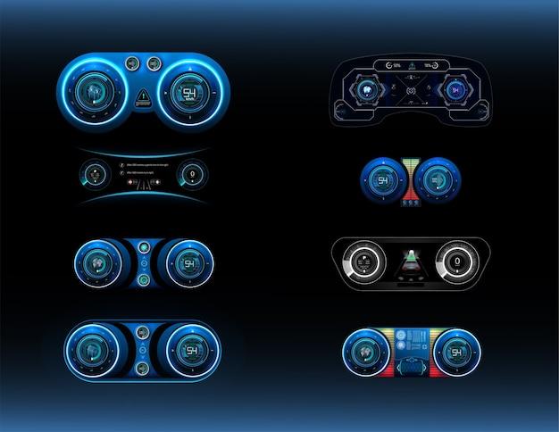 Big set виртуальный графический интерфейс ui hud autoscann. футуристический пользовательский интерфейс.