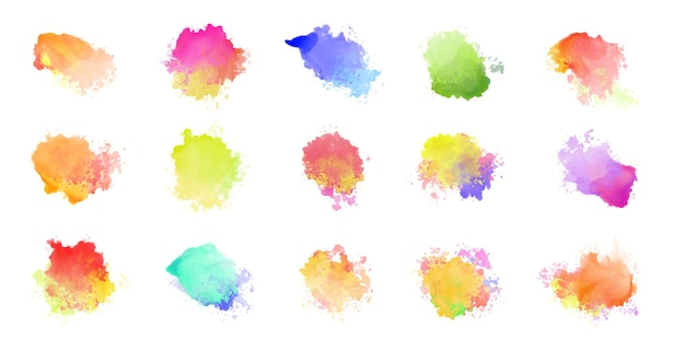 Big set of watercolor colorful stains