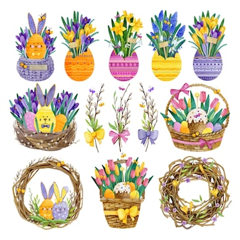 Big set of watercolor easter compositions illustrations