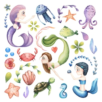 Big set of watercolor marine illustrations with mermaid, sea animals and abstract elements