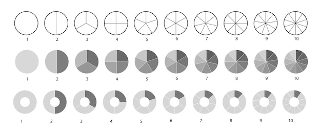 Big set, of wheel diagrams isolated on a white background. segmented circles set. various number of sectors divide the circle on equal parts. black thin outline graphics.