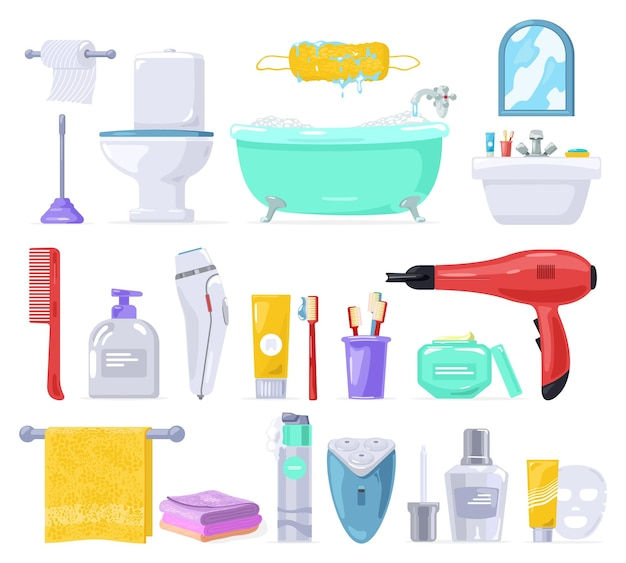 Big  set with body care, personal hygiene products, bathroom.