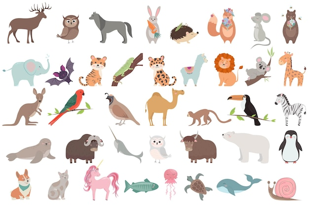 Big set with cute animals in cartoon style vector collection sea wild and woodland animals