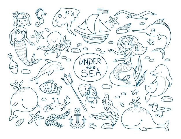 귀여운 인어와 심해의 주민들이 있는 빅 세트. 돌고래, 고래, 불가사리, 해마, 해초, 흰동가리, 해파리, 게. 선형 스타일의 벡터 일러스트 레이 션.