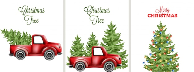 Big set with decorated christmas tree and red car transporting