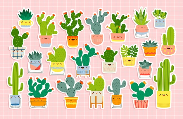 Big set with different cute cacti and succulents stickers with funny faces in pots on pastel pink background.  illustration set with different cactuses
