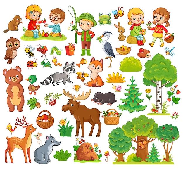 森の動物と子供たちとの大きなセット