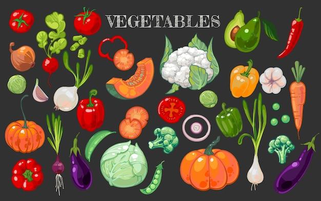Большой набор с рисованной здоровые овощи изолированы