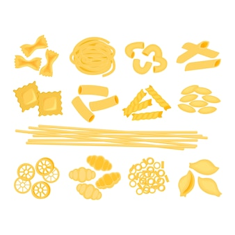 白い背景に分離されたさまざまな種類のイタリアンパスタイラストの大きなセット。スパゲッティ、ファルファッレ、ペンネ、リガトーニ、ラビオリ、フジッリ、コンキリエ、エルボー、フェットチーネイタリアンパスタ