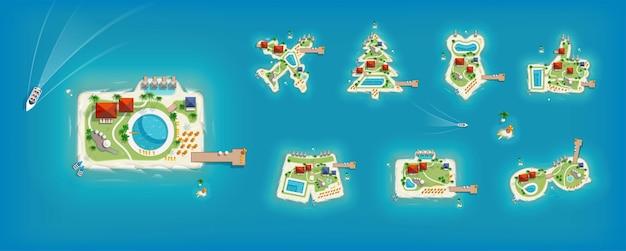 여행 및 관광 디자인을 위한 탑 뷰 아일랜드가 있는 큰 세트