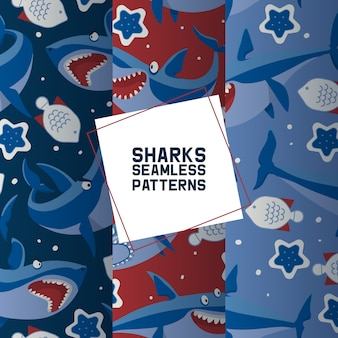 Big sharks set of seamless patterns