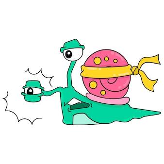 큰 껍질 달팽이는 피곤하고 벡터 일러스트레이션 예술이 될 때까지 건강을 위해 운동하고 있습니다. 낙서 아이콘 이미지 귀엽다.