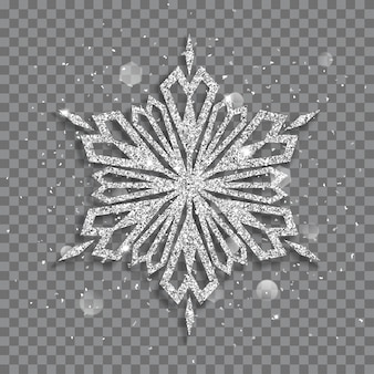 Big shiny christmas snowflake made of silver glitters with sparkles and glares