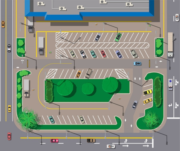 Big shopping center or mall and parking for cars.