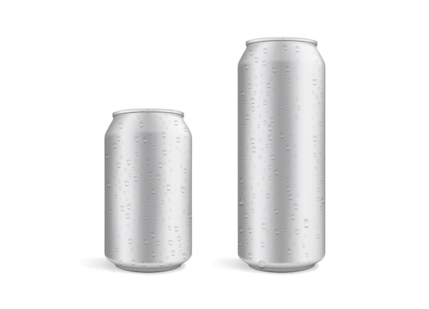 Big and small beer cans with water drops isolated on white background
