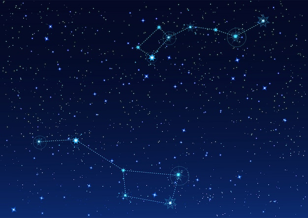 Big and small dipper constellation. polar star. night starry sky