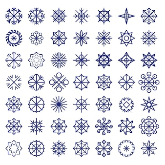 Big  snowflakes set. colorful christmas texture, new year pattern.