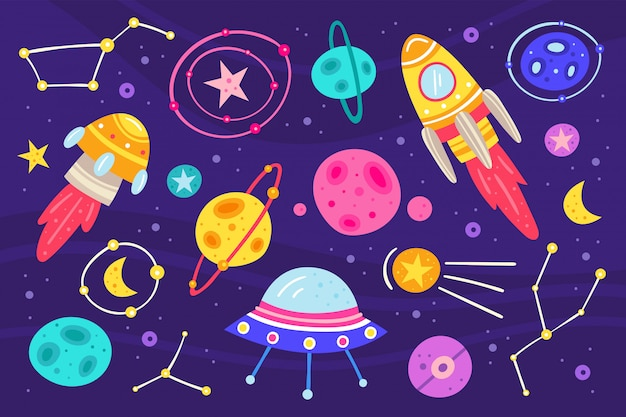Big space  flat illustration, set of elements, icons. stickers set