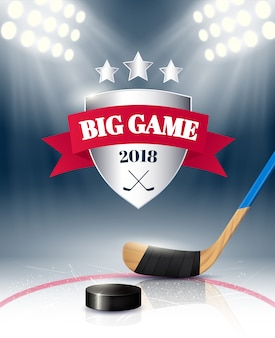 Big sport game poster with hockey equipment