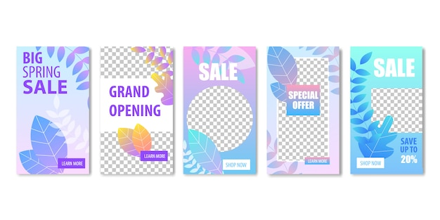 Big spring sale grand opening special offer banner set with