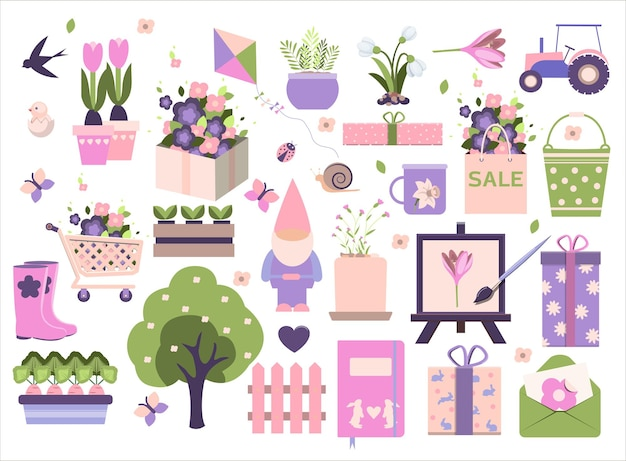 Big spring set vector garden tools flowers flat design cute icons for a website app or ad birds plan...
