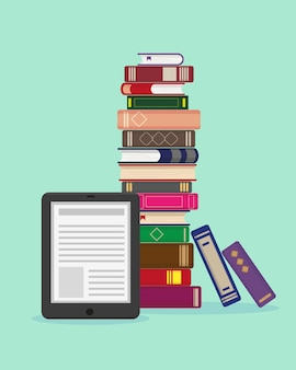 Big stack of books and ebook on blue background