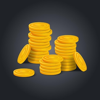 Big stack of golden coins on black background. colorful glossy pile of money money realistic game asset. vector stock illustration