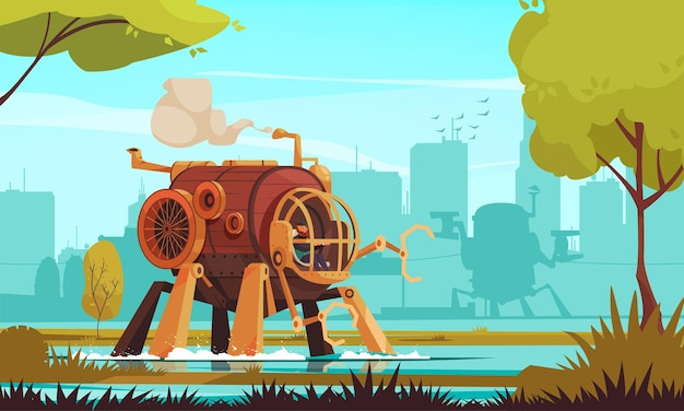 Big steampunk vintage machine with robotic arms and man in cabin outdoors cartoon illustration