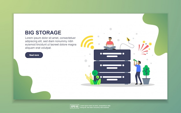 Big storage with tiny people character landing page