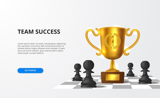 Big successful for team strategy business with big 3d realistic trophy with pawn chessboard
