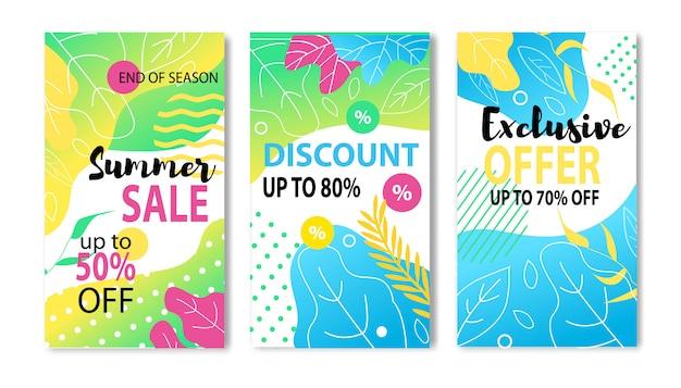 Big summer price fall социальные медиа пост и флаер set.