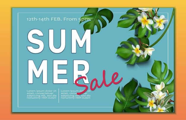 Big summer sale banner template with tropical leaves frame and frangipani flowers