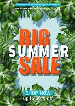 Big summer sale banner template with tropical leaves frame