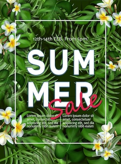 Big summer sale banner template with tropical leaves