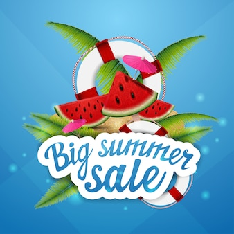 Big summer sale, creative web banner for your creativity