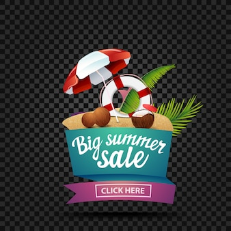 Big summer sale, discount banner isolated on a dark background in the shape of a ribbon
