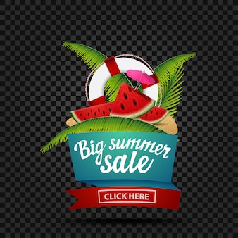 Big summer sale, discount banner isolated on a dark background