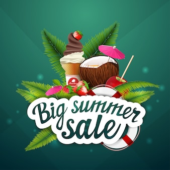 Big summer sale, discount, clickable web banner layout for your creativity