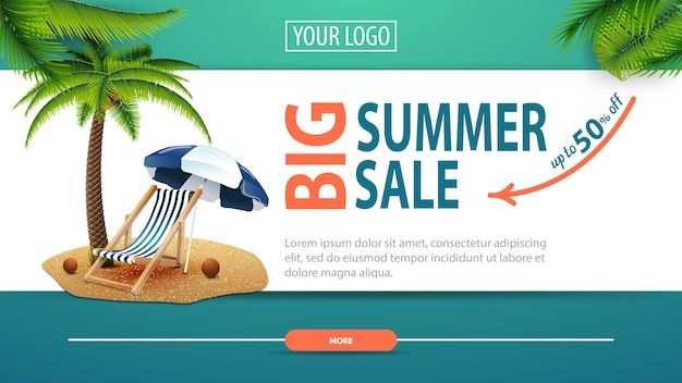 Big summer sale, discount horizontal web banner with modern, stylish design