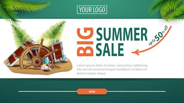Big summer sale, discount horizontal web banner with modern, stylish design