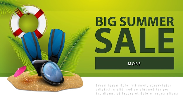 Big summer sale, discount web banner with diving mask