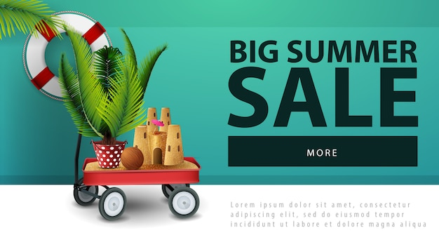 Big summer sale, discount web banner with garden cart with sand, sand castle and potted palm