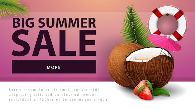 Big summer sale, discount web banner with strawberry cocktail in coconut