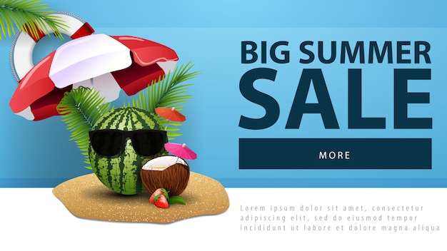 Big summer sale, discount web banner with watermelon in glasses
