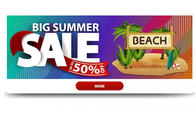 Big summer sale, horizontal discount web banner template